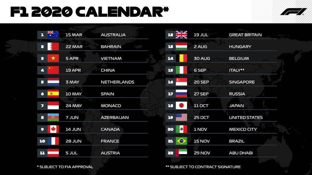 Calendario Crociere Cagliari 2020.F1 Pubblicata La Bozza Del Calendario 2020 Giornale Di Puglia