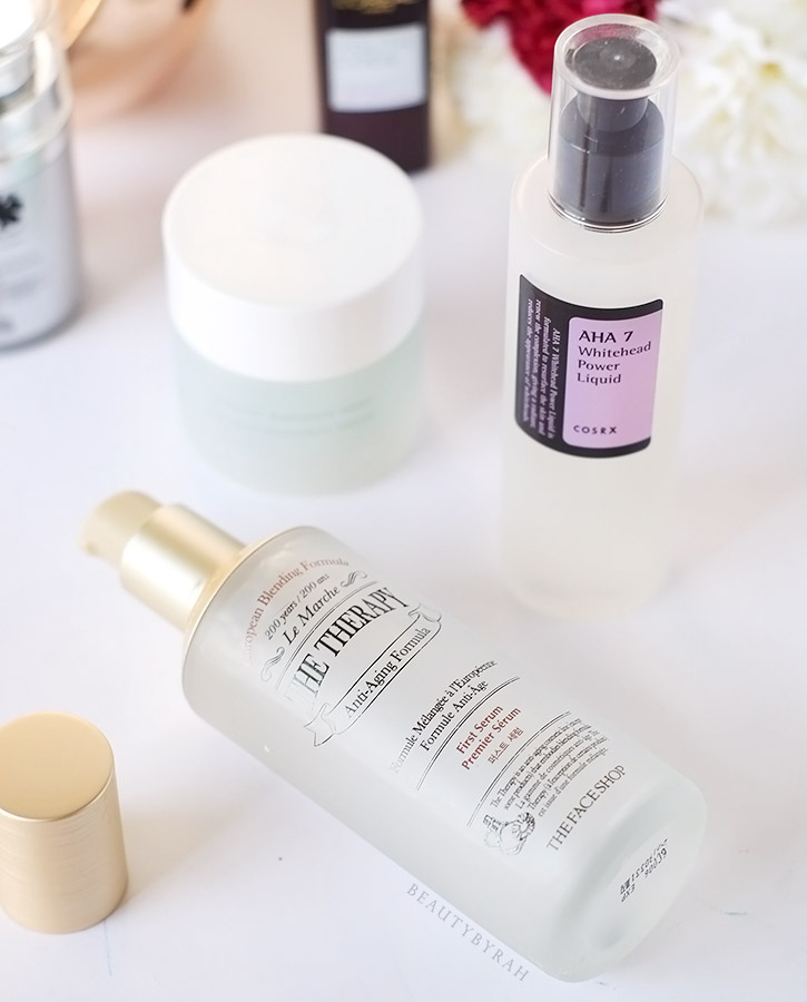 The Face Shop The Therapy First Serum and CosRX AHA 7 Whitehead Power Liquid Review