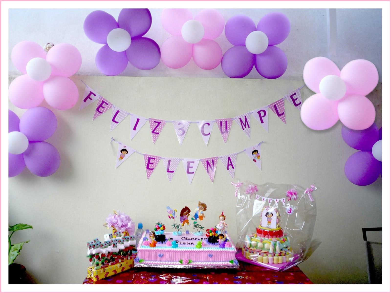 Baby nina fiestas cumple dora la exploradora para elena for Decoracion cumpleanos nina