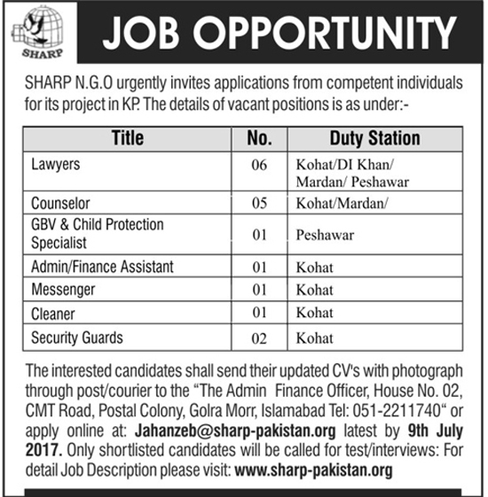Jobs In Sharp NGO Khyber Pakhtunkhwa 3 July 2017