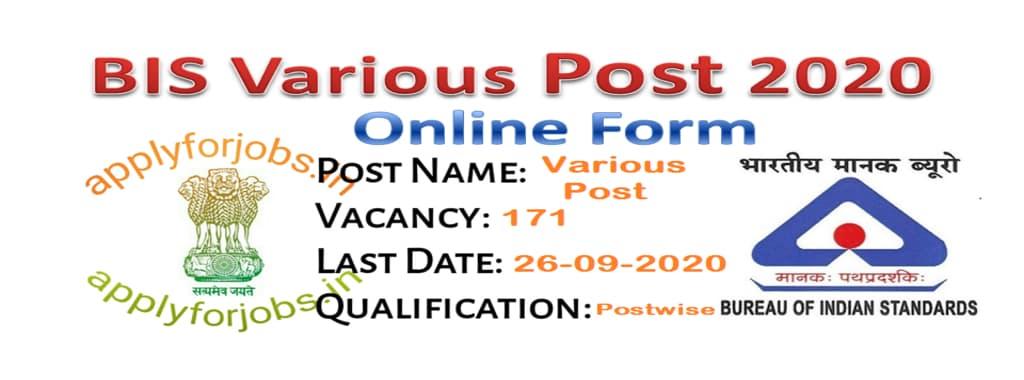 BIS Various Post Recruitment 2020 Online, applyforjobs.in