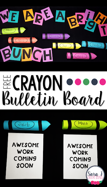 FREE crayon bulletin board template! Great idea for back to school and displaying awesome work in your classroom.