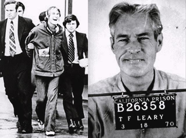Fotografia de Timothy Leary sendo detido por supostamente fazer apologia ao consumo de LSD, quando na verdade apenas se posicionou contra a proibição da substância.