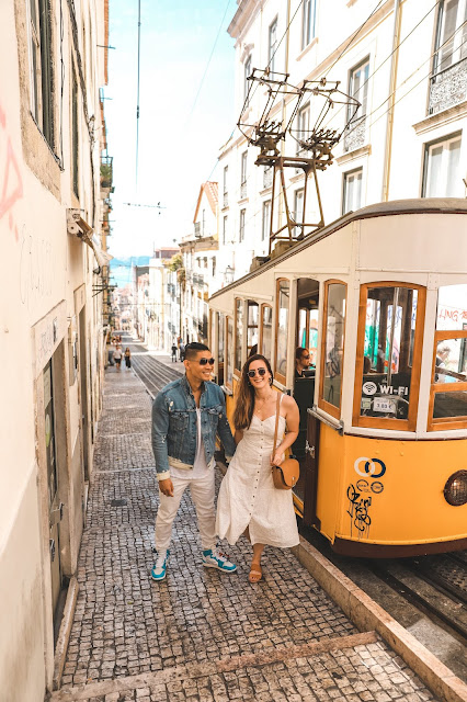 AMWF Couple in Lisbon with Tram
