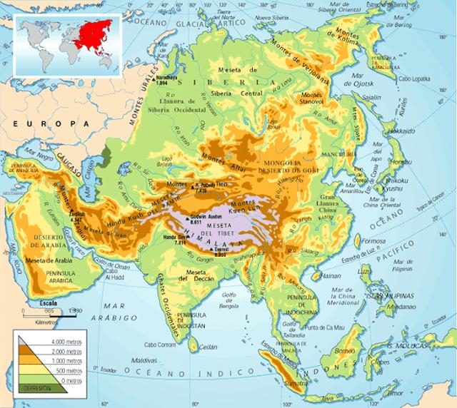 Montes Altai Mapa Fisico.Me Gustan Las Sociales Asia Y Oceania Mapa Fisico