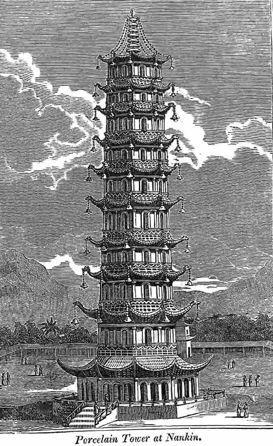 the 1500s white Porcelain Tower of Nanjing from an 1822 book, an illustration