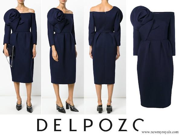Queen Letizia wore DELPOZO flower embellished long sleeved dress