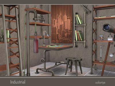 Industrial Set Промышленный набор для The Sims 4 Промышленный набор. Имеет 3 цветовых вариации, 14 предметов. Предметы в наборе: - стол письменный - стул - два вида полок - книжный шкаф - настольный светильник - напольный свет - два вида стеллажей - настенное искусство - напольная скульптура - настенная скульптура - декоративный телескоп - декоративная колонна. Автор: soloriya