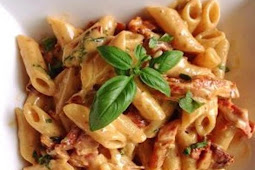 #Yummy #Penne #Alfredo #with #Bacon #and #Sun #Dried #Tomato