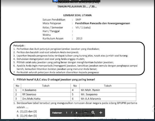 Soal PAS Pendidikan Kewarganegaraan (PKn) Kelas 7 Kurikulum 2013