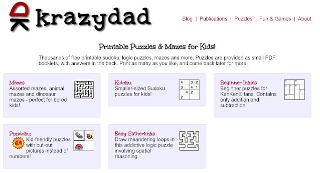 KrazyDad 免費列印200萬張紙上益智遊戲,迪士尼技術主管設計的迷宮,數獨,解謎遊戲