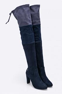 Cizme albastre peste genunchi din material textil Big Star la reducere