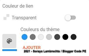 Le formulaire de couleurs dans le concepteur de thèmes Blogger.