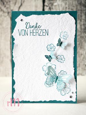 Stamp Impressions Blog Hop: Something new, Something old mit Schmetterlingsglück, Schmetterlingsduett, Frei wie ein Vogel und selbst geschöpftem Papier