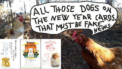 Chickens and New Dog Year postcards