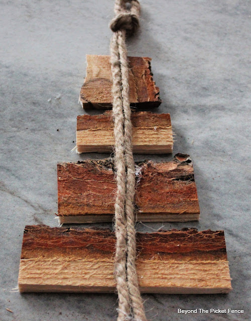 Hot Glue Jute to the Back of Wood Scraps to Make a Wall Hanging