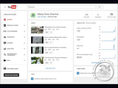 Pendapatan Channel YouTube MANG YONO yang baru