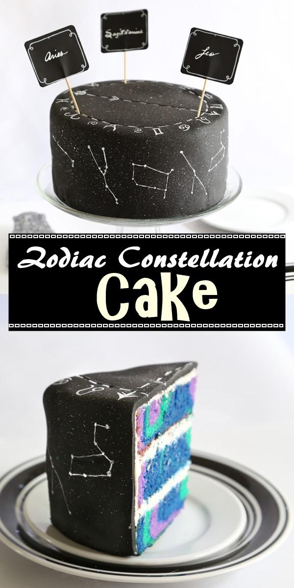 Zodiac Constellation Cake #cakerecipes