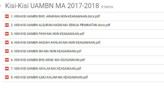 Kisi-Kisi UAMBN PAI B. Arab MA 2017/2018