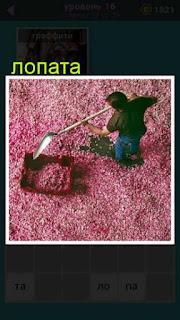 мужчина лопатой собирает лепестки роз на полу в игре 667 слов 16 уровень