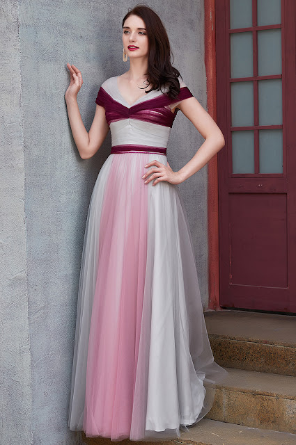 v cut bridesmaid dress with gradient color