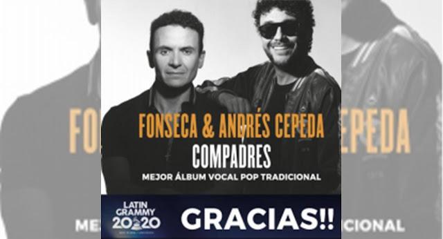 """Andrés Cepeda y Fonseca ganan el Latin Grammy con su álbum """"Compadres"""""""