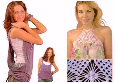 Prendas combinadas mezclando crochet con tela