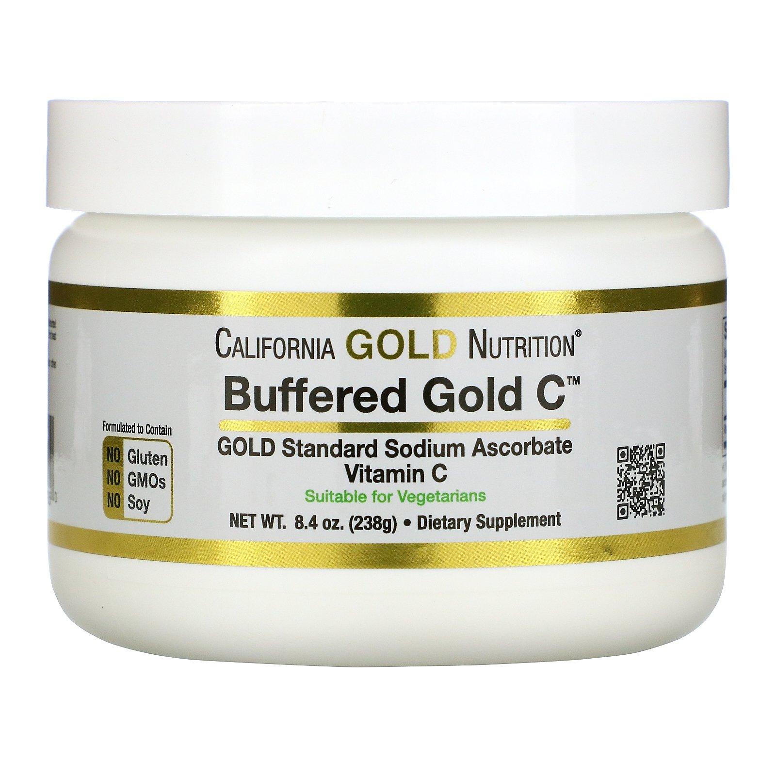 California Gold Nutrition, Buffered Gold C, некислый буферизованный витамин C в форме порошка, аскорбат натрия, 238 г (8,4 унции)