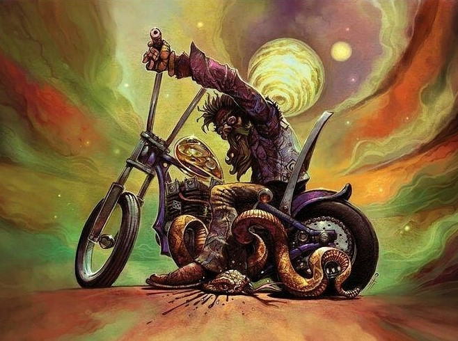 Mystical Outlaw Biker and Rattlesnake Illustration by Mitch Cotie AKA mitch_crystals on Instagram
