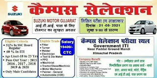 Suzuki Motor Gujarat Pvt Ltd Recruitment ITI Candidates || ITI Jobs Campus Placement Drive at Govt ITI, Mandi, Himachal