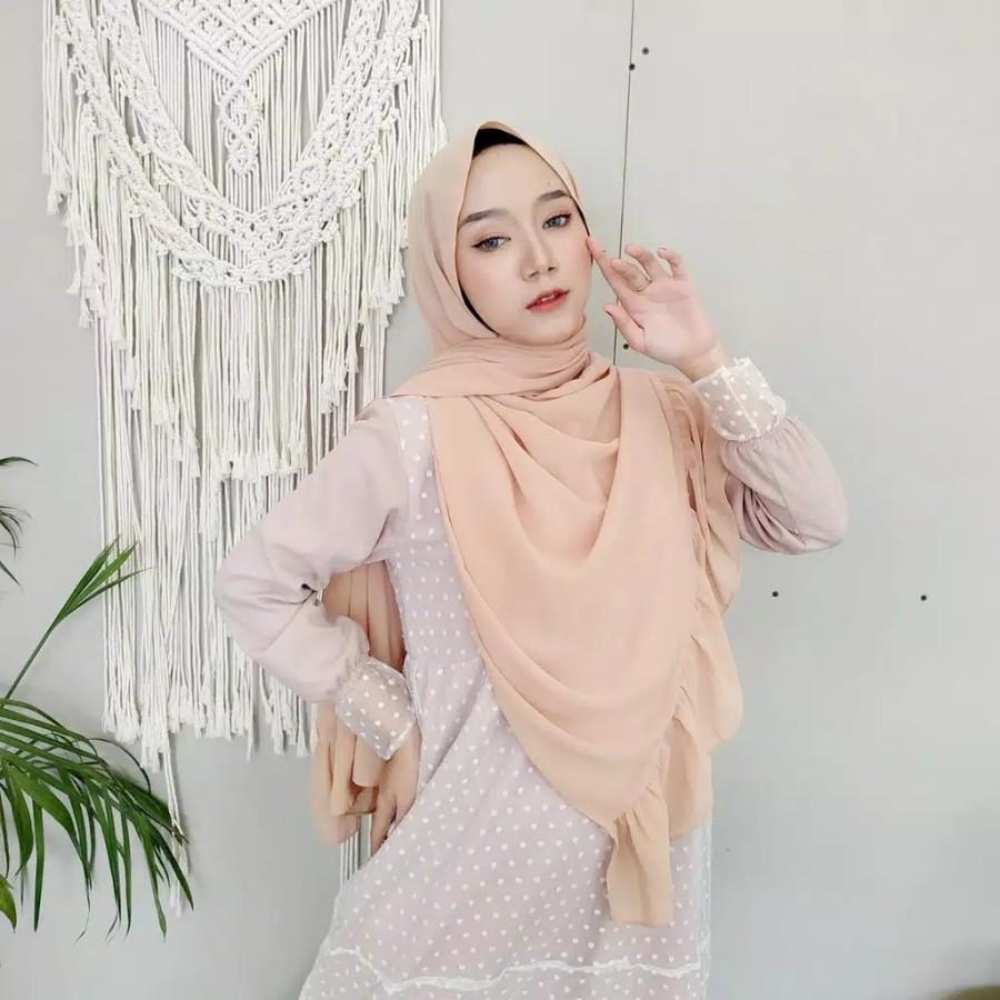 Jilbab Pasmina Terbaru - Hijab Pashmina Polos Ruffle Premium