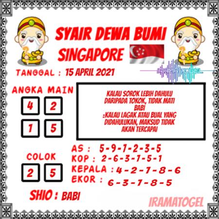 Syair Dewa Bumi Singapura Kamis 15 April 2021