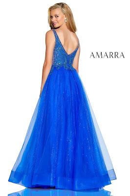 Beaded Tulle Prom Dress Amarra Royal Blue Color Back side