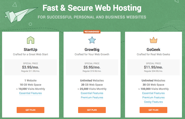 siteground pricing chart for shared hosting plans review