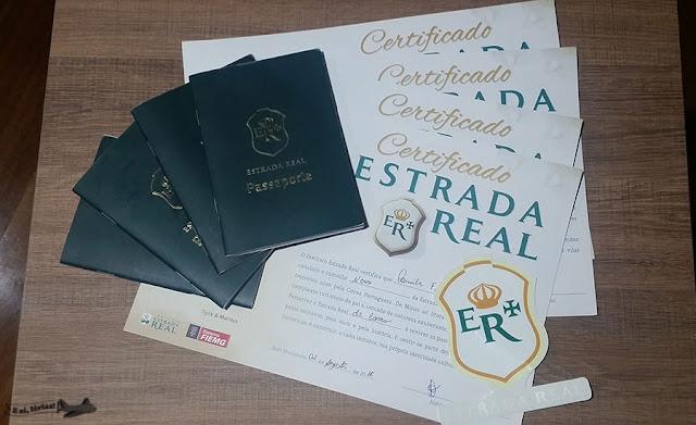 Certificado e passaporte do Caminho Novo da Estrada Real