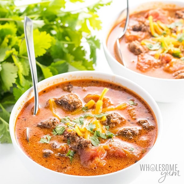 Easy Low Carb Taco Soup with Ranch Dressing