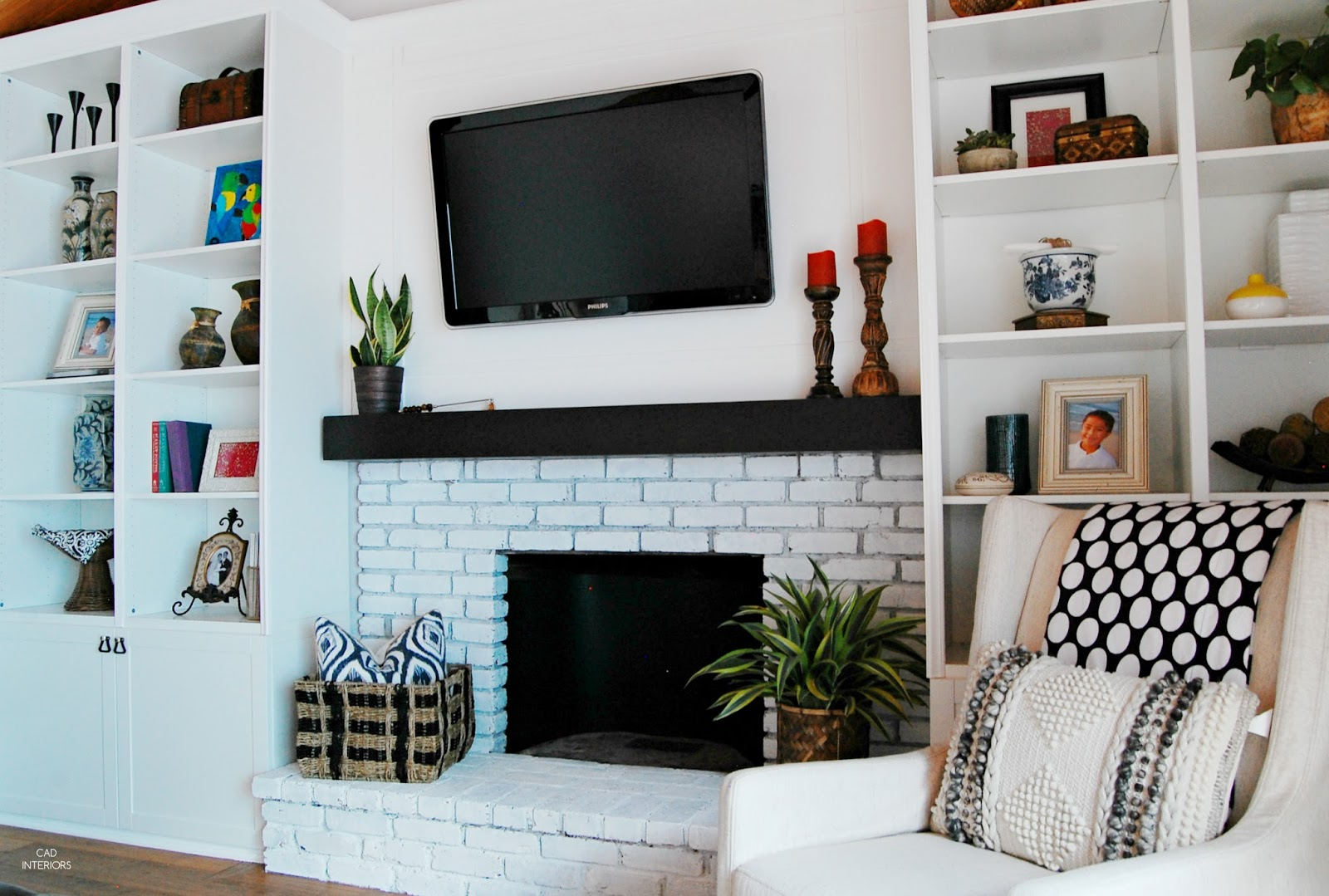 one room challenge modern bohemian eclectic vintage transitional interior design decorating orc DIY built-ins fireplace brick whitewash makeover