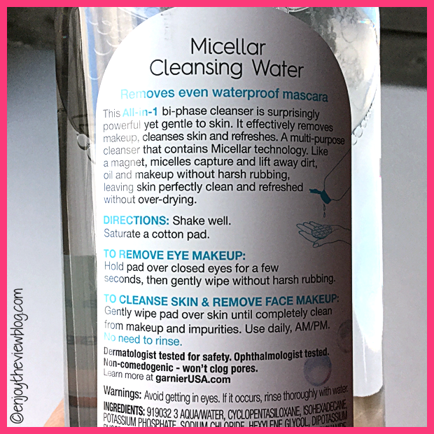 back label of Garnier SkinActive Micellar Cleansing Water i