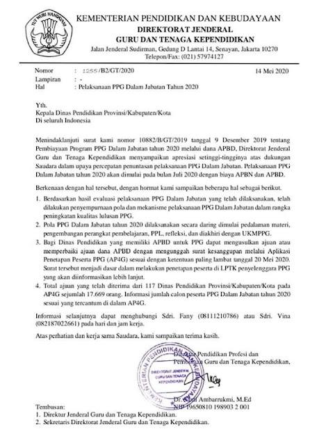 surat mengenai jadwal PPGJ dari ditjen GTK kemdikbud