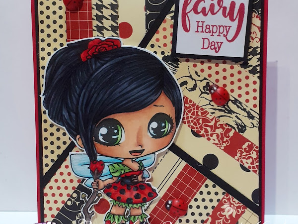 Quilted Paper Card with Chibi Fae Wee
