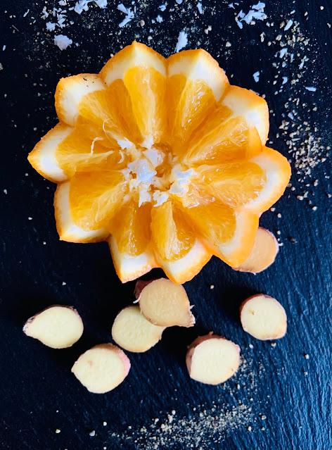 Ingwer-Orangen-Kokos-Drink, Rezept, glutenfrei, vegan, schnell, einfach, Tropicai, Kokoswasser Kokosnuss, Abwehrkraft, Fit durch den Winter, Ingwer