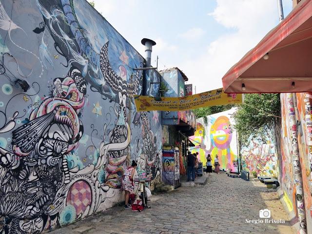 Vista da entrada do famoso Beco do Batman pela Rua Harmonia - Jardim das Bandeiras - São Paulo