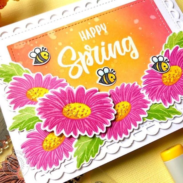 Sunny Studio Stamps: Cheerful Daisies Frilly Frame Dies Sunny Sentiments Spring Themed Card by Lynn Put