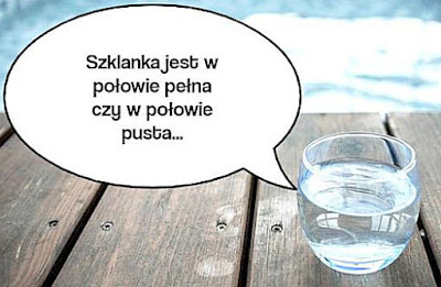 Szklanka wypełniona w połowie wodą.