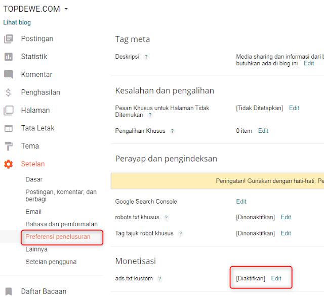 Mengatasi notifikasi pendapatan adsense beresiko ads txt di blogspot