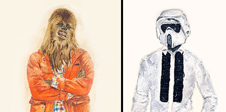 238228430e93 John Woo is the artist behind this painted series of fictional characters  from the Star Wars universe dressed in hipster style clothing.