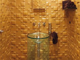 diseño de espacios muy creativos baño de color amarillo