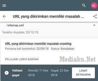 URL Masalah Crawling
