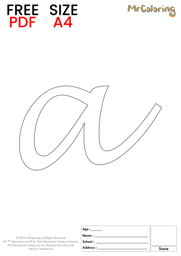 Alphabet letter a coloring pages lowercase handwriting for kids