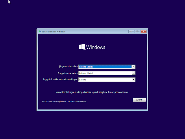 Avvio installazione di Windows